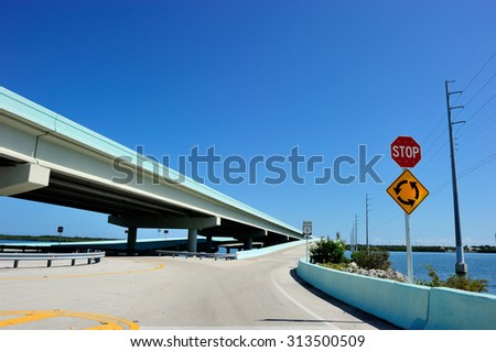 US1 highway to Key West, Florida, USA - stock photo