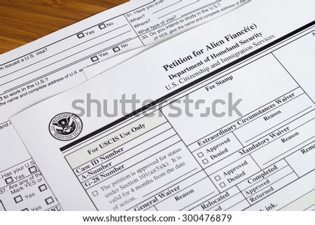 US Homeland Security Citizen and Immigration Services Petition for alien fiance form