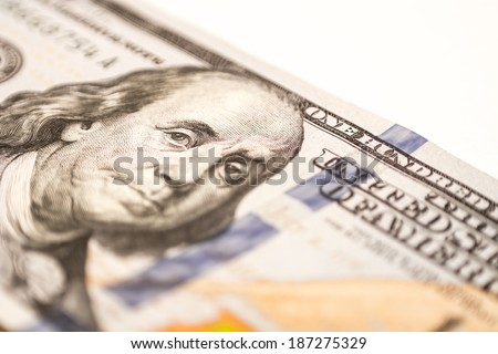 US hundred dollar bill, macro photography