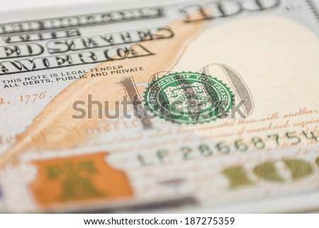 US hundred dollar bill, macro photography - stock photo