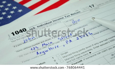 Us Individual Income Tax Return Form Stock Photo Download Now