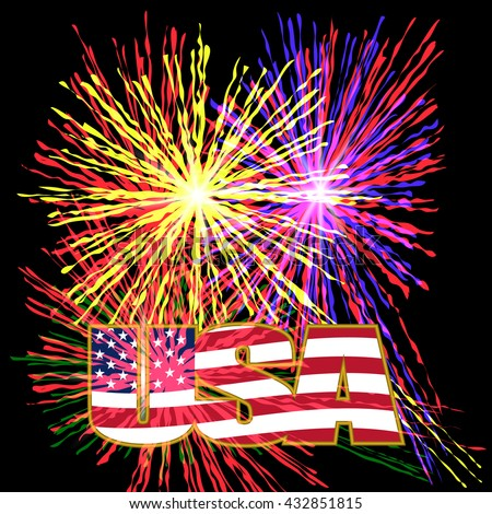 US inscription stylized flag colors in a gold frame on a background celebratory fireworks on Independence Day. Raster illustration