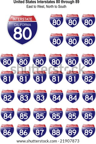 US Interstate Signs I-80 through I-89 with reflective-looking surface. - stock photo