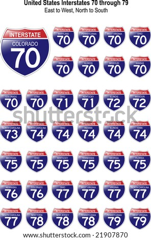 US Interstate Signs I-70 through I-79 with their respective states, with reflective-looking surface. - stock photo