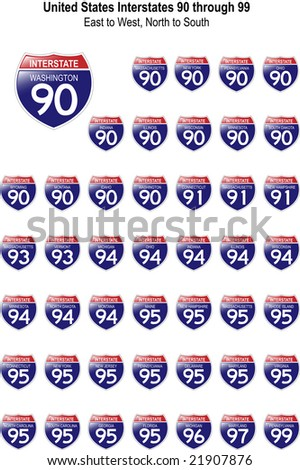 US Interstate Signs I-90 through I-99 with their respective states, with reflective-looking surface. - stock photo