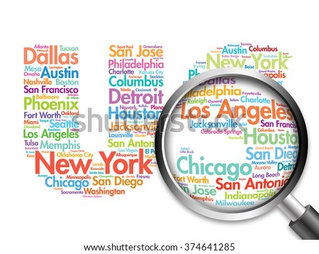 US letters with cities names words cloud with magnifying glass, travel business concept