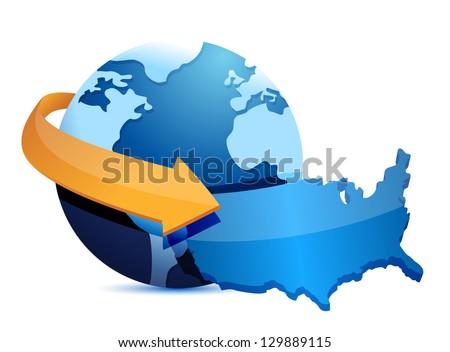 US map earth globe illustration design graphic - stock photo