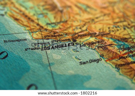 US map with Los Angeles in focus. Los Angeles City concept - stock photo