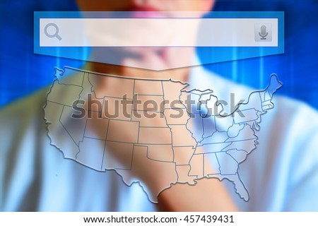 US map with states. Half transparent white map of United States at colourful background. Conceptual image, person thinking. Design US map. - stock photo