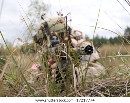 US Marine aiming the enemy