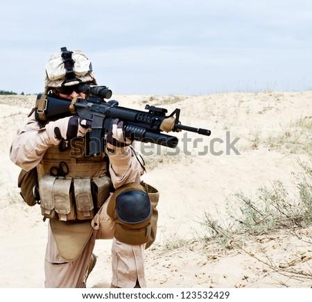 US marine in the desert - stock photo