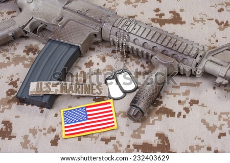 us marines uniform and weapon concept background - stock photo