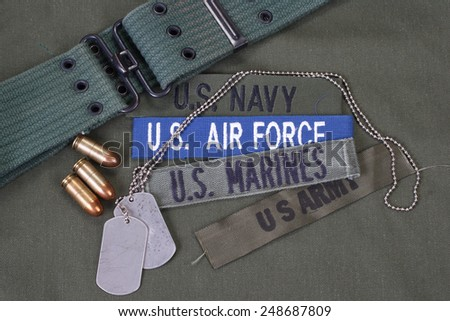 US military concept on olive green uniform background - stock photo