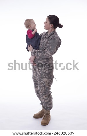 Us military mother holding her child on white background - stock photo