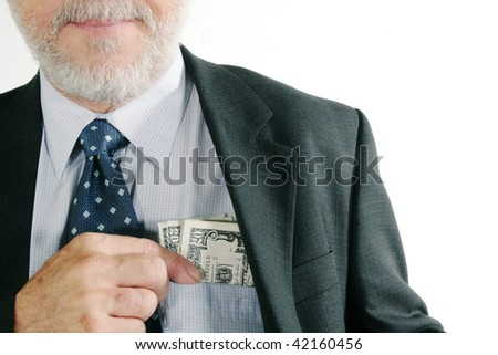 Us money in a business suit - stock photo