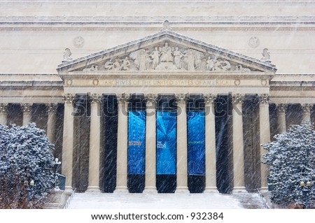 US National Archives During Snow Storm - stock photo