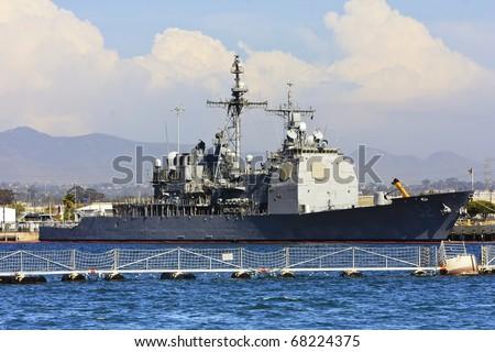 US Navy Battle Ship at San Diego Bay - stock photo