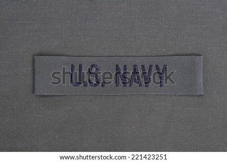 us navy uniform with blank dog tags background - stock photo