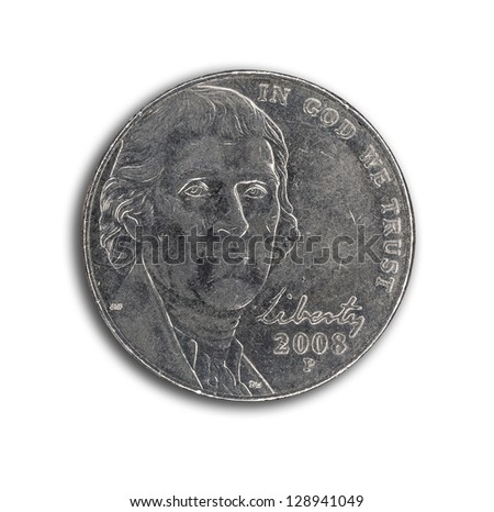 US nickel on white background with path - stock photo