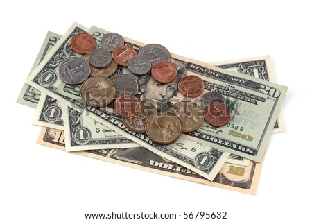 US notes and coins, isolated on white. - stock photo