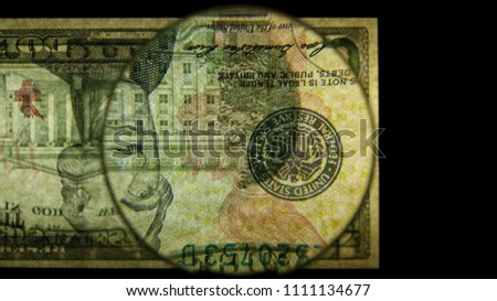 US 10 Obverse Art, Flipped, Back Lit, Black Background, Magnified, Federal Reserve Note,