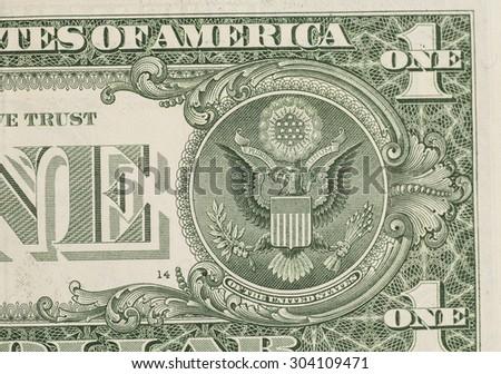US one dollar bill closeup macro, 1 usd banknote - stock photo