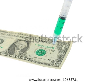 US one dollar bill with syringe needle sticking in it on white background - stock photo