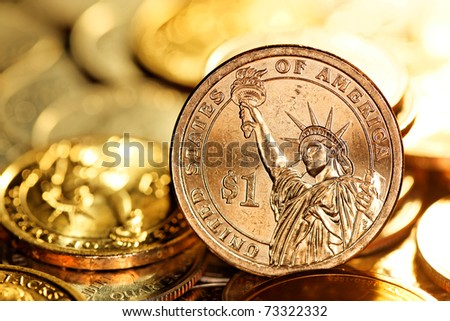 US $1 (One Dollar) Coin - stock photo