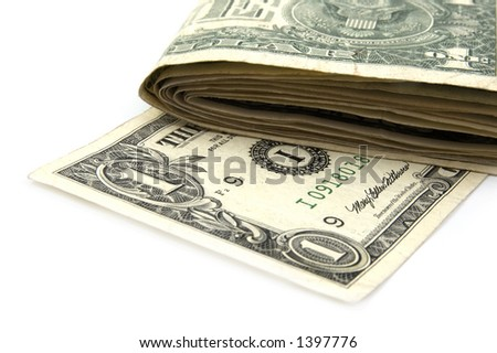 US One Dollar Note with a stack