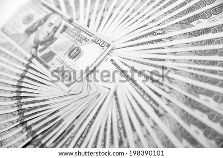 US One Hundred Dollar Bills.  Black and white photo. - stock photo