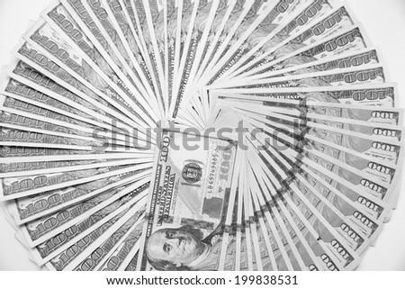 US One Hundred Dollar Bills. Black and white photo. - stock photo