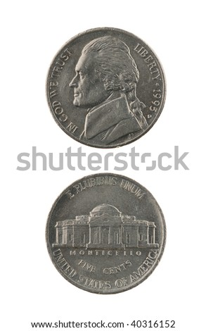 US one nickel coin (five cents) isolated on white ? obverse and reverse - stock photo