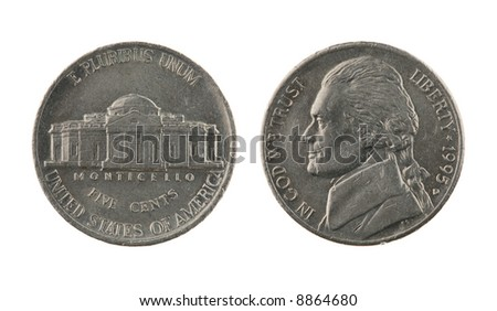 US one nickel coin (five cents) isolated on white – obverse and reverse - stock photo