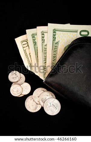 US Paper Currency in Wallet with Scattered Coins