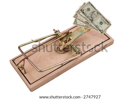 US paper money and a Mousetrap, concept of financial trap