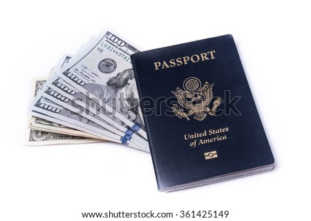 US passport and dollar bills on isolated white background - stock photo
