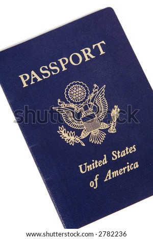 US Passport Cover isolated against a white background - stock photo