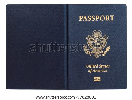 us passport isolated on white background - stock photo