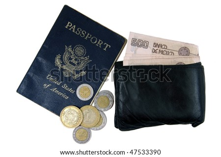US passport, wallet, and Mexican pesos