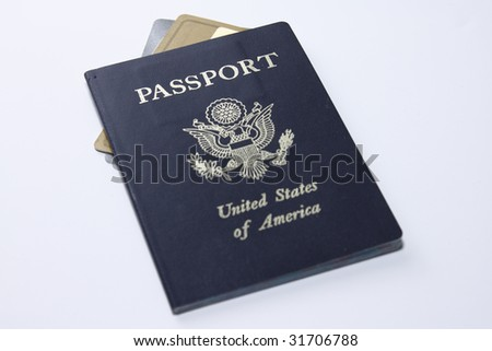 US Passport with credit cards - stock photo