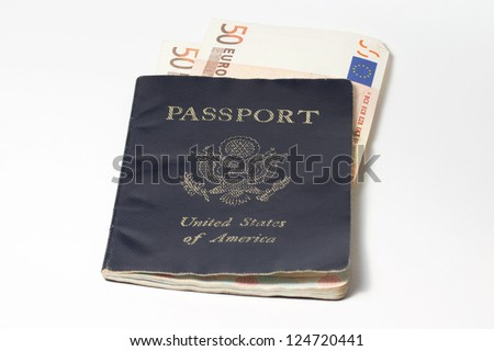 US Passport with Euro Notes - stock photo