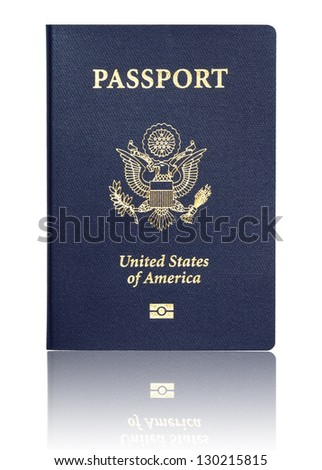 us passport with reflection