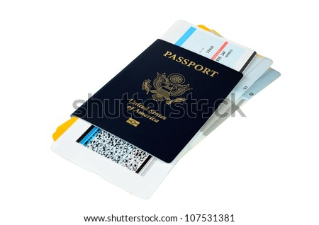 US passport with three boarding passes on white background - stock photo