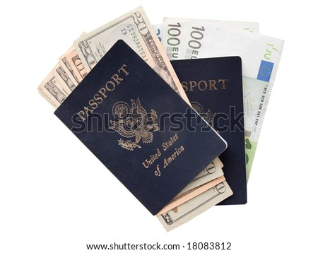 US passports and paper money ready to travel to Europe