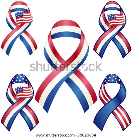 US patriotic ribbons set isolated on white