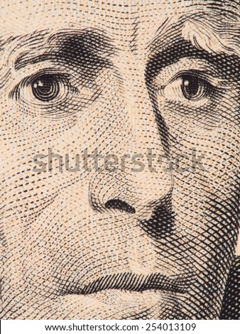 US President Andrew Jackson face on 20 dollar bill super macro, united states money closeup, 2013 series - stock photo