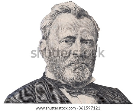 US president Ulysses Grant  face on fifty dollar bill macro isolated, united states money closeup - stock photo