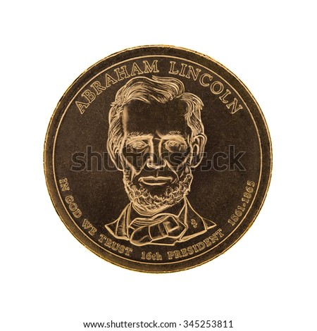 US Presidential One Dollar Coin - Abraham Lincoln. Isolated on white background - stock photo