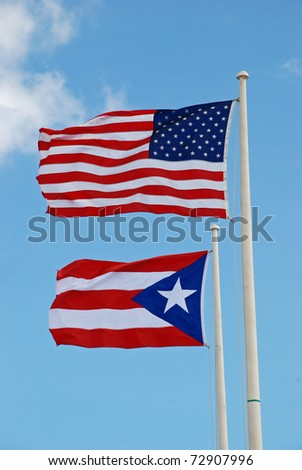 US & Puerto Rico flags at El Morro Castle, San Juan - stock photo