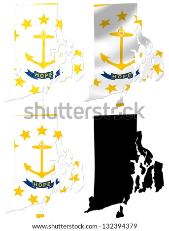 Us Rhode Island State Flag Over Map Collage